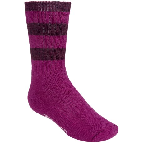 SmartWool Hike Stripe Socks - Merino Wool, Crew (For Kids) in Berry/Wine