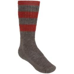 SmartWool Hike Stripe Socks - Merino Wool, Crew (For Kids) in Taupe/Clay