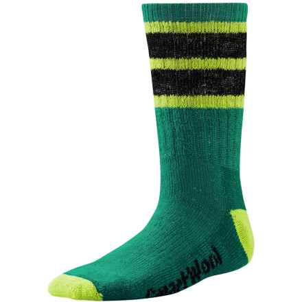 SmartWool Hike Stripe Socks - Merino Wool, Crew (For Little and Big Kids) in Alpine Green - 2nds