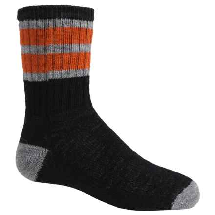 SmartWool Hike Stripe Socks - Merino Wool, Crew (For Little and Big Kids) in Black - 2nds