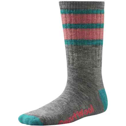 SmartWool Hike Stripe Socks - Merino Wool, Crew (For Little and Big Kids) in Light Gray - 2nds