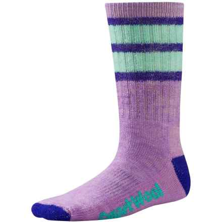 SmartWool Hike Stripe Socks - Merino Wool, Crew (For Little and Big Kids) in Lilac - 2nds