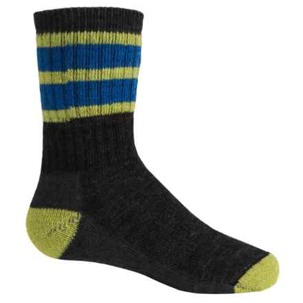 SmartWool Hike Stripe Socks - Merino Wool, Crew (For Little and Big Kids) in Smartwool Green/Bright Blue - 2nds
