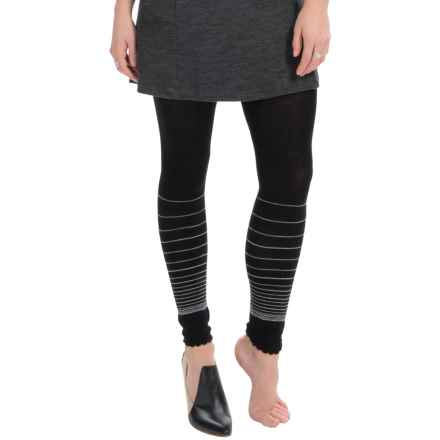 SmartWool Horizon Line Footless Tights - Merino Wool (For Women) in Black - Closeouts