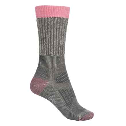 SmartWool Hunt Light Socks - Merino Wool, Crew (For Women) in Medium Gray/Bright Pink - 2nds