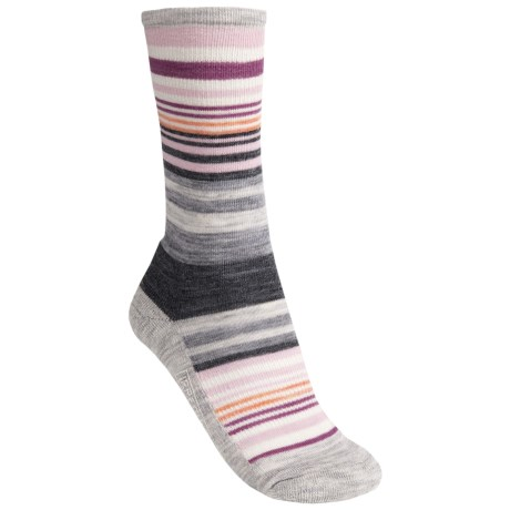 SmartWool Jovian Stripe Socks - Merino Wool, Crew (For Women) in Ash Heather