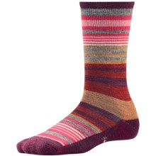 SmartWool Jovian Stripe Socks - Merino Wool, Crew (For Women) in Aubergine Heather - Closeouts