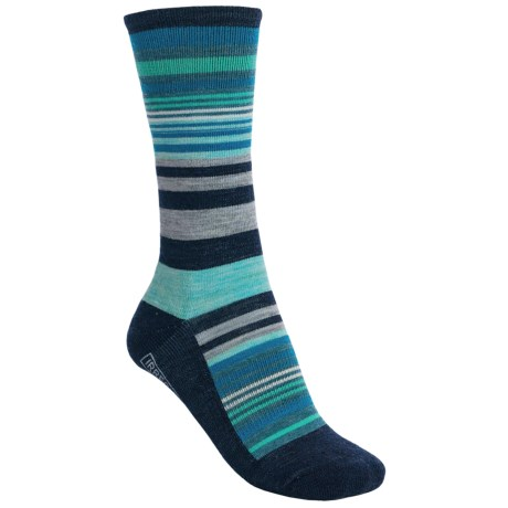 SmartWool Jovian Stripe Socks - Merino Wool, Crew (For Women) in Deep Navy Heather