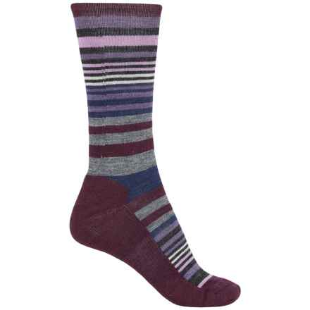 SmartWool Jovian Stripe Socks - Merino Wool, Crew (For Women) in Light Gray/Aubergine - Closeouts