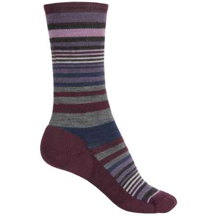 SmartWool Jovian Stripe Socks - Merino Wool, Crew (For Women) in Light Grey Aubergine - 2nds