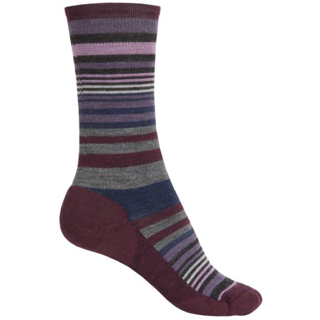 SmartWool Jovian Stripe Socks - Merino Wool, Crew (For Women) in Light Grey Aubergine