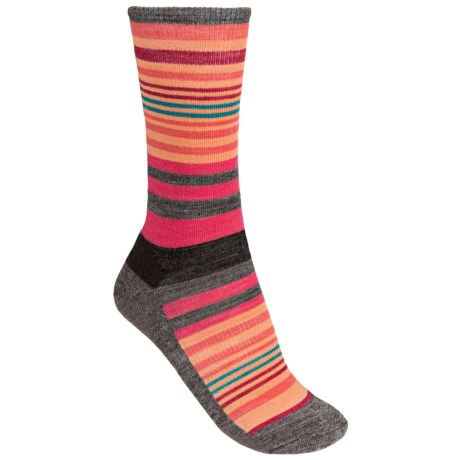 SmartWool Jovian Stripe Socks - Merino Wool, Crew (For Women) in Taupe