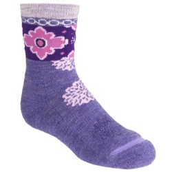 SmartWool Kilim Patchwork Socks - Merino Wool, Crew (For Girls) in Lavender Heather