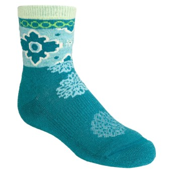 SmartWool Kilim Patchwork Socks - Merino Wool, Crew (For Girls) in Teal