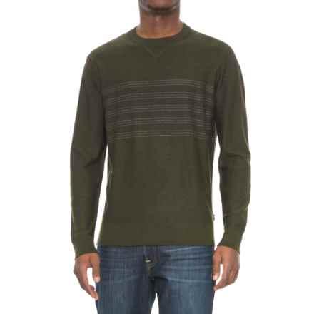SmartWool Kiva Ridge Reverse Jersey Stripe Sweater - Merino Wool (For Men) in Olive Heather - Closeouts