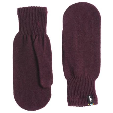 SmartWool Knit Mittens - Merino Wool Blend (For Women) in Bordeaux