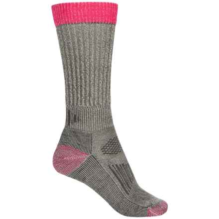 SmartWool Lightweight Hunting Socks - Merino Wool, Crew (For Women) in Medium Gray/Bright Pink - Closeouts