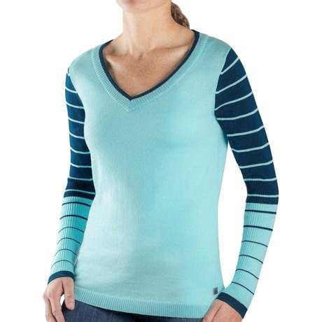 SmartWool Lightweight Stripe Sweater - Merino Wool, V-Neck (For Women) in Purple Heather