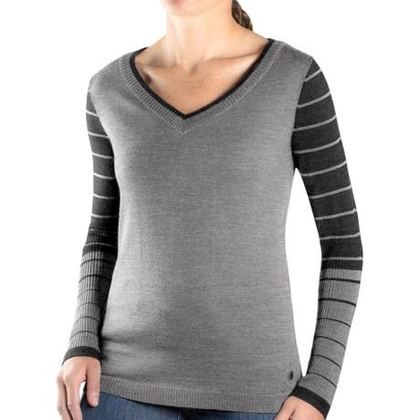 SmartWool Lightweight Stripe Sweater - Merino Wool, V-Neck (For Women) in Silver Grey Heather