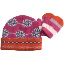 SmartWool Lil Daisy Beanie Hat and Mitten Set - Merino Wool (For Kids) in Peony - Closeouts