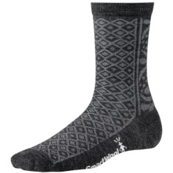SmartWool Lily Pond Pointelle Socks - Merino Wool, Crew (For Women) in Charcoal Heather