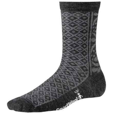 SmartWool Lily Pond Pointelle Socks - Merino Wool, Crew (For Women) in Charcoal Heather - 2nds