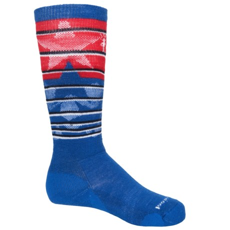SmartWool Lincoln Loop Ski Socks - Merino Wool, Over the Calf (For Little and Big Kids) in Bright Blue