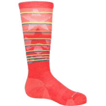 SmartWool Lincoln Loop Ski Socks - Merino Wool, Over the Calf (For Little and Big Kids) in Hibiscus - Closeouts