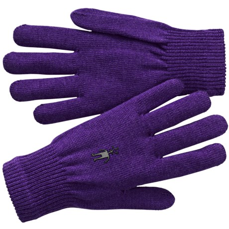 SmartWool Liner Gloves - Merino Wool (For Men and Women) in Grape