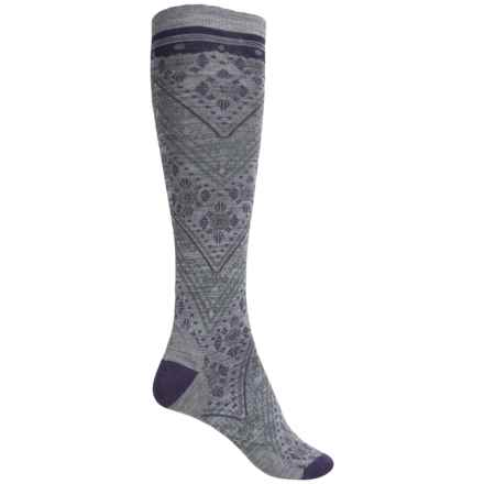 SmartWool Lingering Lace Knee-High Socks - Merino Wool Blend, Over the Calf (For Women) in Light Gray Heather - Closeouts