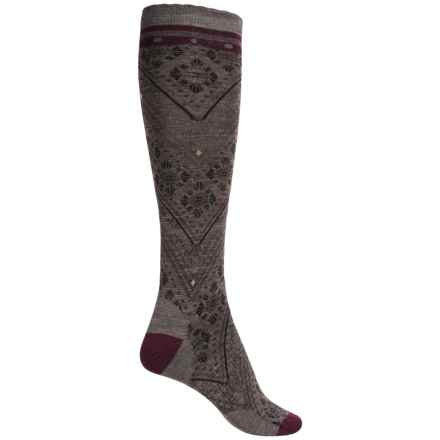 SmartWool Lingering Lace Knee-High Socks - Merino Wool Blend, Over the Calf (For Women) in Taupe Heather - Closeouts