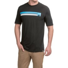 SmartWool Logo Stripe Slim T-Shirt - Merino Wool, Short Sleeve (For Men) in Blk/Slvr Gry - Closeouts
