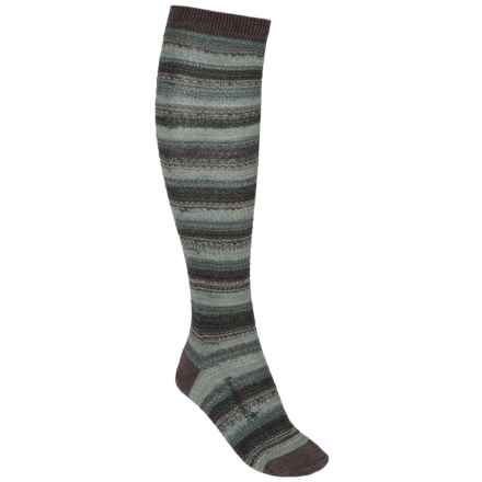 SmartWool Marble Ridge Knee-High Socks - Merino Wool, Over the Calf (For Women) in Taupe Heather - 2nds