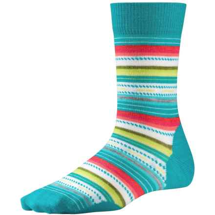 SmartWool Margarita Socks - Merino Wool, Crew (For Women) in Capri Blue Stripe - Closeouts