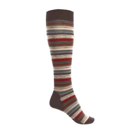 SmartWool Margarita Stripe Socks - Merino Wool, Over the Calf (For Women) in Chestnut - 2nds