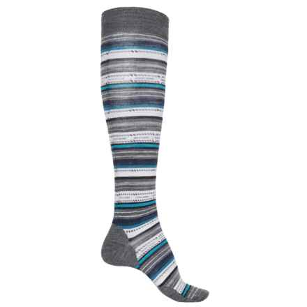 SmartWool Margarita Stripe Socks - Merino Wool, Over the Calf (For Women) in Medium Gray - 2nds