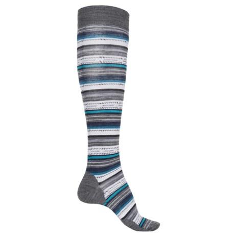 SmartWool Margarita Stripe Socks - Merino Wool, Over the Calf (For Women) in Medium Gray
