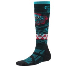SmartWool Medium Ski Socks - Merino Wool, Midweight, Over-the-Calf (For Women) in Black/Capri - 2nds