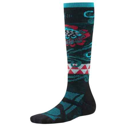 SmartWool Medium Ski Socks - Merino Wool, Midweight, Over-the-Calf (For Women) in Black/Capri - 2nds