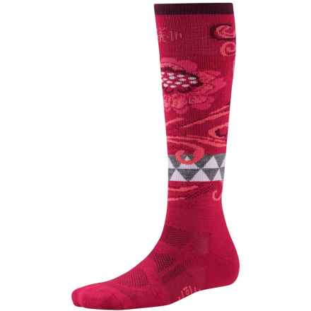 SmartWool Medium Ski Socks - Merino Wool, Midweight, Over-the-Calf (For Women) in Persian Red - 2nds