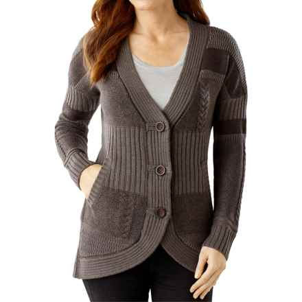 SmartWool Meran Long Cardigan Sweater - Merino Wool (For Women) in Chocolate Heather - Closeouts