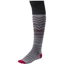 SmartWool Metallic Optic Frills Socks - Merino Wool, Over the Knee (For Women) in Charcoal Heather - Closeouts