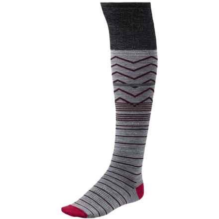 SmartWool Metallic Optic Frills Socks - Merino Wool, Over the Knee (For Women) in Charcoal Heather - Closeouts