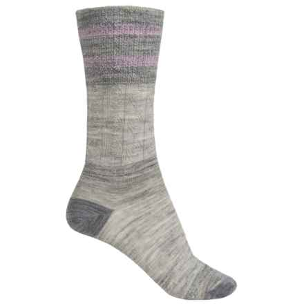 SmartWool Metallic Stripe Cable Crew Socks - Merino Wool, Lightweight (For Women) in Ash Heather - 2nds