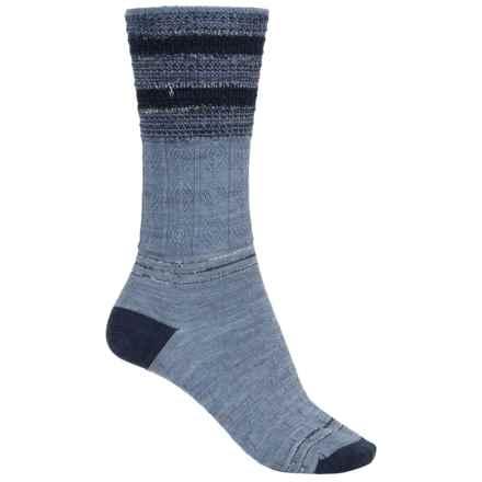 SmartWool Metallic Stripe Cable Crew Socks - Merino Wool, Lightweight (For Women) in Blue Steel Heather - 2nds