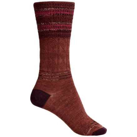 SmartWool Metallic Stripe Cable Crew Socks - Merino Wool, Lightweight (For Women) in Cinnamon Heather - 2nds