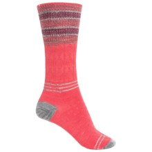 SmartWool Metallic Stripe Cable Crew Socks - Merino Wool, Lightweight (For Women) in Hibiscus - 2nds