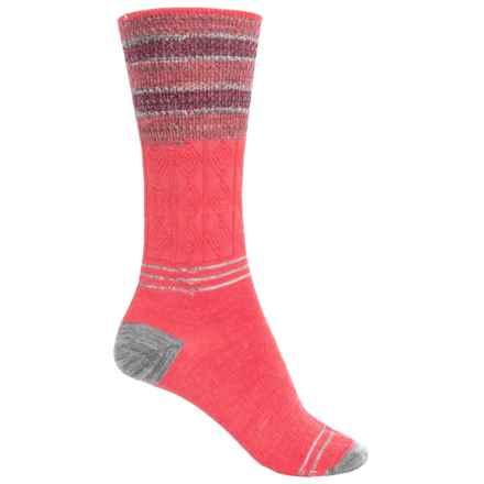 SmartWool Metallic Stripe Cable Crew Socks - Merino Wool, Lightweight (For Women) in Hibiscus - 2nds