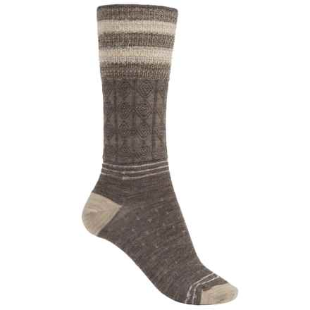 SmartWool Metallic Stripe Cable Crew Socks - Merino Wool, Lightweight (For Women) in Taupe Heather - 2nds