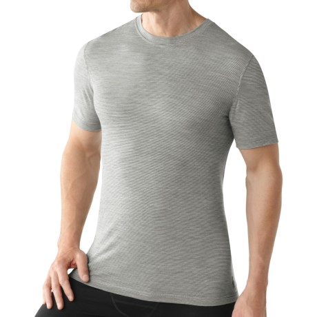 SmartWool Microweight Merino Wool T-Shirt - UPF 30, Short Sleeve (For Men) in Silver Grey Pattern